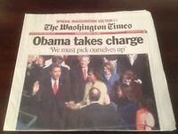 Barack Obama Inauguration * RARE * The Washington Times Newspapers, Jan 21,2009