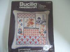 "Bucilla Needlecraft Imari Patchwork 16"" Decorator Pillow Kit #3537 Complete NIP"