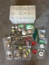 Vintage Cake Decorating Icing Tools Mould Bundle Kit Double Sided Storage Box