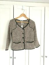 Cardigan Sweater sz S NWT LUCCA COUTURE Blazer Style Button Down Faux Leather