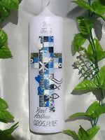 Taufkerze Kommunionkerze, Mosaik, Mädchen u. Junge 250/70mm