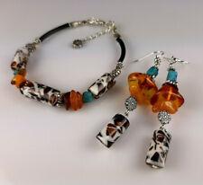 Vintage Elegant Genuine Baltic Amber Mixed Bracelet Earrings Tibet Silver 0018