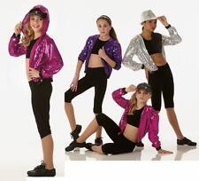 Dancin Machine Dance Costume PURPLE Sequin Hoodie Jacket Clearance Adult X-Large
