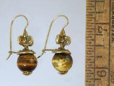 Marcello Fontana Sterling Gold Wash Etruscan Earrings W/Tiger Eye Stones, #149