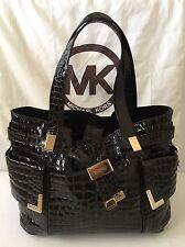 michael kors Brown Mock Croc Patent Leather LargeTote/Shoulder Bag  Double Strap
