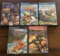 Ps2 5 Game Lot: Ratatouille, Over The Hedge, Shrek, Shadow The Hedgehog, Tarzan