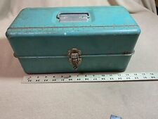 Vintage Liberty Steel Chest Tackle Box 2 shelves Usa green good shape