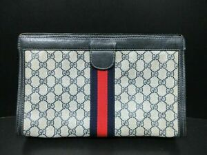 Authentic GUCCI Old Gucci Clutch Bag PVC Leather Ivory Navy 86895