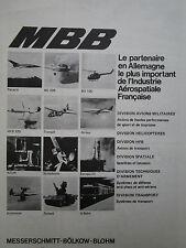 5/1970 PUB MBB SATELLITE TORNADO BO 209 HFB 320 TRANSALL ORIGINAL FRENCH AD