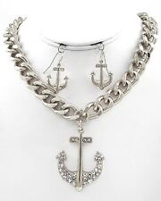 NEW CRYSTAL ANCHOR PENDANT NAUTICAL SILVER LINK CHAIN NECKLACE & EARRINGS SET