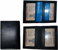 Lot of 3 New Slim Leather Credit Card, ID card. picture Holder, 2 ID windows