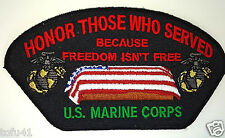''HONOR THOSE WHO SERVED'' US MARINE CORPS Military Veteran Hero Cap Patch D