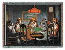 POKER CHIPS DOGS PLAYING CARD GAME TABLE TAPESTRY THROW AFGHAN BLANKET 70x54