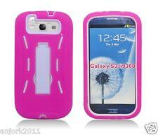 Samsung Galaxy S3 III Hybrid Armor Case Skin Cover w/ Kickstand Pink White