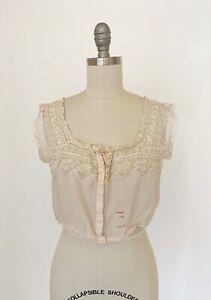 Antique Vtg 1900s 1910s Silk Corset Cover Blouse Lace Chemise Bra Victorian