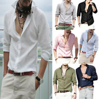 Summer Mens Long Sleeve Shirts Casual Workwear Button Down Slim Shirts Tops