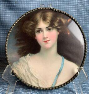 FLUE COVER LOT #27 Woman Portrait off shoulder dress w/ blue ribbon rosy cheeks