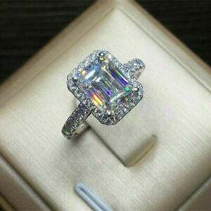 14k White Gold 2.75ct Emerald Brilliant Diamond Engagement Ring Fine Jewellery