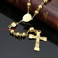 Mens Womens Jewelry Stainless Steel 8mm Gold Plated Beads Rosary Necklace Chain