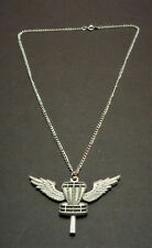 "New-Disc Golf Wings Basket Necklace-2"" x 1.5"". 18"" Silver Chain"