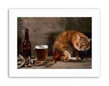 GINGER CAT poisson et bière lager Photo Poster Photo Toile Art Prints