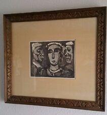 """Georges Rouault """"Les Visages"""" Faces Woodcut Print, Collectors Guild Paperwork"""