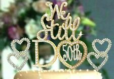 50th Gold Anniversary Vow Renewal Cake Topper with 2 Crystal Rhinestone Hearts