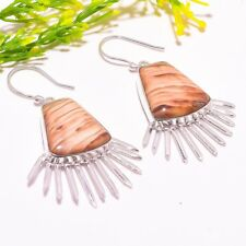 "Plume Wood Jasper Gemstone Handmade Fashion Jewelry Earring 2.56"" SE-1295"