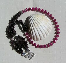 "Natural Red Ruby & Red Garnet Crystal Gemstone Beaded Statement Necklace ""Glee"""