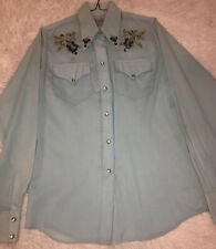 Vintage Rockmount Ranch Wear Long Sleeve Shirt SZ 32 M Embroidered Pearl Snaps