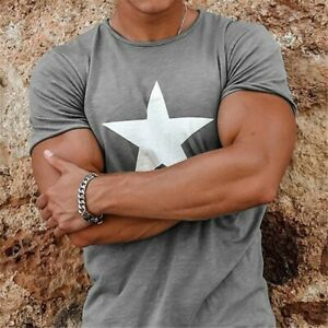 Mens Slim Fit Round Neck Short Sleeve Muscle Tee Casual 3D T-shirt Tops Blouse