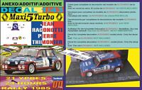 ANEXO DECAL 1/43 RENAULT MAXI 5 TURBO J.RAGNOTTI YPRES 24 R. 1985 WINNER (01)
