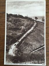 c1950 B/W Postcard Porlock Hill Somerset Gradient 1 in 4 Old Cars Real Photo