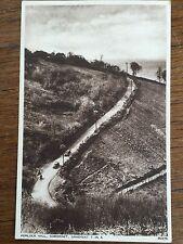 c1950 B/W Postcard Porlock Hill Somerset Gradient 1 in 4 Old Cars Real Photo