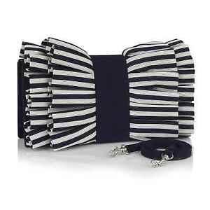 Ruby Shoo Nassau Pleated bow-effect clutch bag in Navy Stripe.