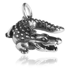 Crocodile Alligator sterling silver charm .925 x 1 Crocs Gator charms DKC14029