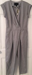 NWT JCREW $228 Collection tropical wool jumpsuit Sz4 In Gray C0935 SOLDOUT
