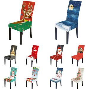 Christmas Chair Cover Elastic Seat Cover Stretch Slipcover Party Dinning Room