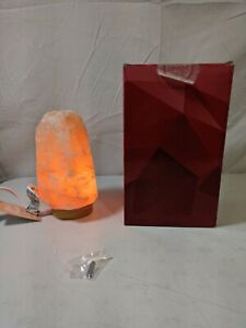 Himalayan Salt Lamp Pink Rock Large Crystal Natural Rubber Wood Base Yoga Yogi