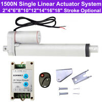 Heavy Duty 1500N 330lbs Linear Actuator +Remote Controller 12V DC Electric Motor