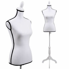 Female Mannequin Torso Dress Clothing Form Display White Tripod Stand