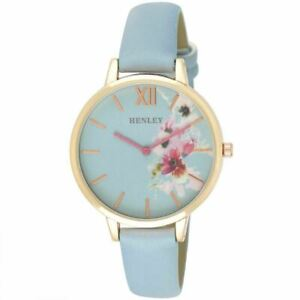BRAND NEW LADIES HENLEY WATCH LIGHT BLUE DIAL WITH FLOWERS LIGHT BLUE STRAP