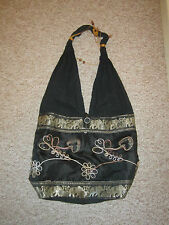 Vintage BLACK Large Boho TOTE BAG shoulder bag FESTIVAL Elephant Embroidered