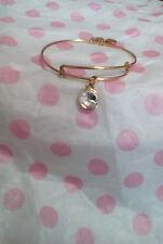 Alex & Ani April White Clear Birthstone Gold Charm Bangle Bracelet
