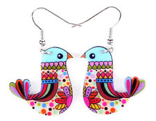 Colorful Bird Earrings Dangle Drop Print Boho Flower Retro Birds Jewelry NEW