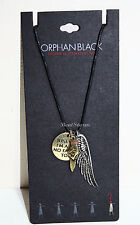 NEW BBC Orphan Black HELENA Wings Quote Pendant Cord Necklace Hot Topic EXC.
