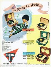 PUBLICITE ADVERTISING 026  1956  Teppaz  éléctrophone par Alain Gauthier