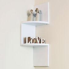 2 Tier White Wall Mounted ZigZag Corner Floating Shelf/Shelves Display Wood Unit