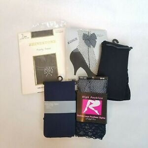 Lot of 5 Pantyhose, tights & Fishnets-Black Navy sheer opaque footed footless