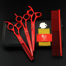 4pc Pet Grooming Scissors Dog Professional Straight Curved Thinning Hair Cutting